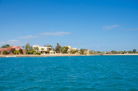 El Gouna is an Egyptian tourist resor . It is located on the Red Sea in the Red Sea Governorate of Egypt. View from a floating ship