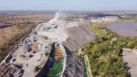 Workshop for the processing of metallurgical slag. Slag is the by-product left over after a desired metal has been separated (ie, smelted) its raw ore.Harmful production and air pollution.Aerial view