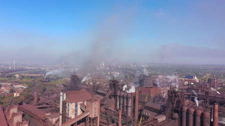 Steel Plant. Aerial view. Environmental pollution.