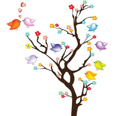 Bird on tree Vector