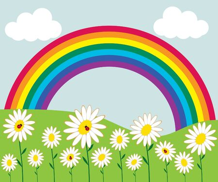 Rainbow and flowers Stock Vector - 9719620