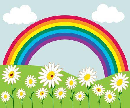 Rainbow and flowers Illustration