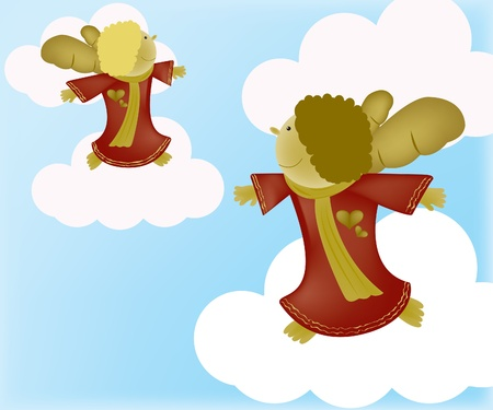 Angel on clouds Vector