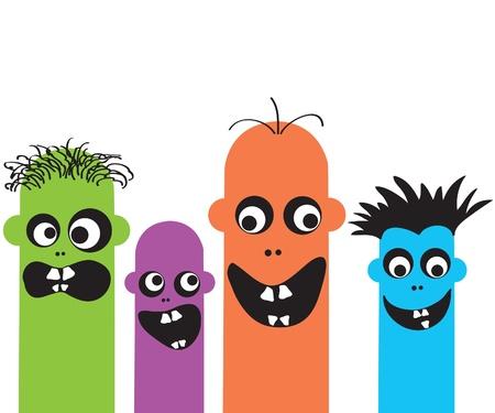Monstruos divertidos dibujos animados