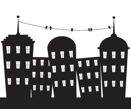 silhouette of a city: City black and white