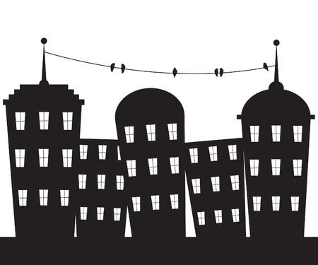 Miasto czarno-białe Ilustracja