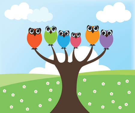 Owl on tree Illustration