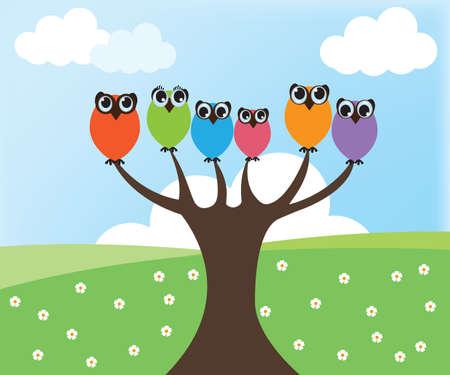 Owl on tree Illustration