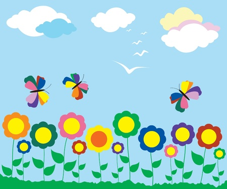 cloud clipart: Flor de primavera Vectores