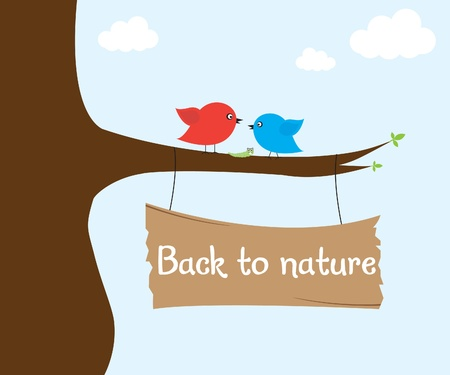 Birds on tree Stock Vector - 9936406