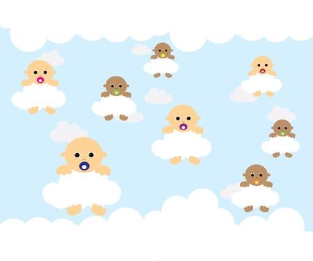 Baby na chmurze Ilustracja