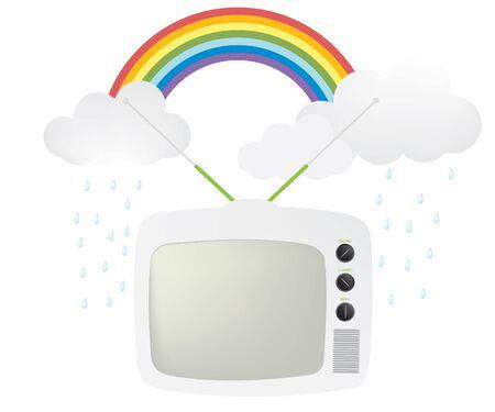 Retro TV i tęcza Ilustracja
