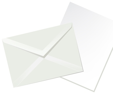 Letter envelope and white paper Illustration