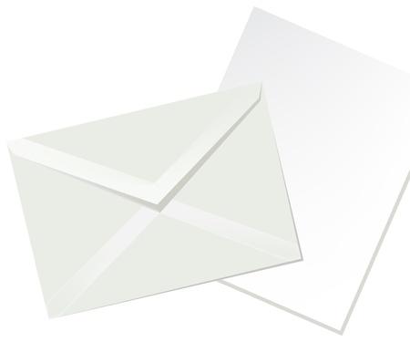 Letter envelope and white paper Illustration