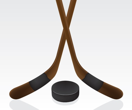 sporting goods: Hockey puck and stick