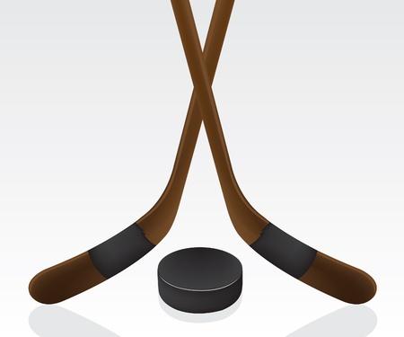 Hokej na krążek i kij Ilustracja
