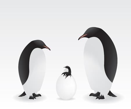 Pingwiny i dziecko penguin Ilustracja