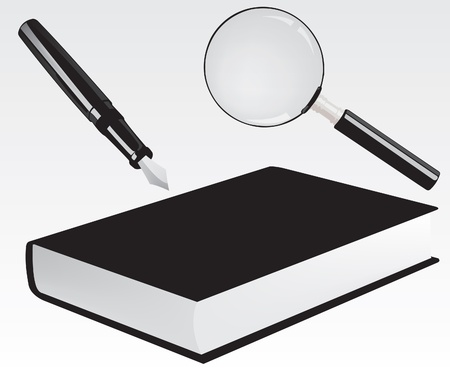 Fountain pen, book and magnifying glass Vector