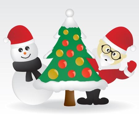 Santa and christmas tree Stock Vector - 10945082
