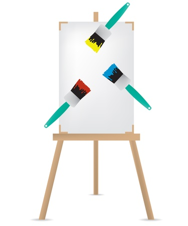 canvas painting: Easel and paint brush illustration