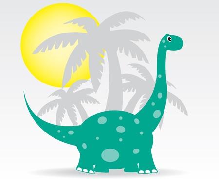 dinosaurio caricatura: Los dinosaurios y las palmas Vectores