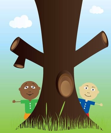 Tree and kids in nature Vector