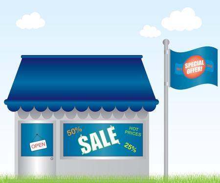 store window: Markt winkel illustratie