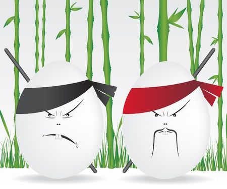 Ninja eggs and bamboo forest Vector