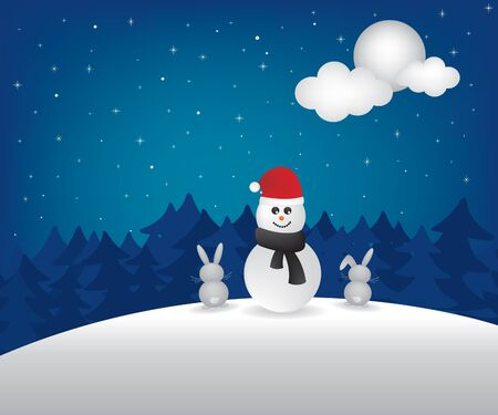 Winter night  and snowman illustration Vector