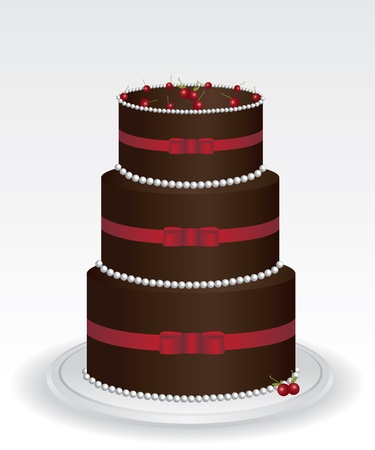 Chocolate cake illustration Stock Vector - 12488439