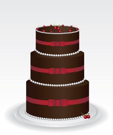 Chocolate cake illustration Stock Vector - 12488439