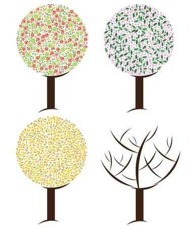 Season tree illustration Illustration