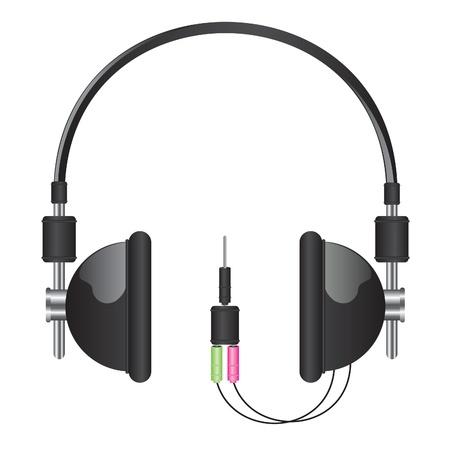 ear phones: Headphones black illustration Illustration