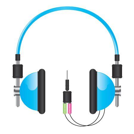ear phones: Headphones blue illustration