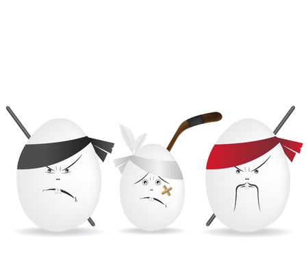 food fight: Ninja eggs illustration illustration