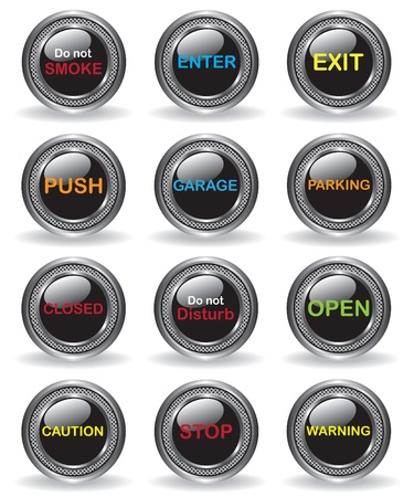not open: Signs buttons illustration Illustration