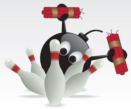 threat of violence: Bowling pins and bomb illustration Illustration