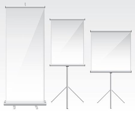 glass panel: Roll up banner glass illustration Illustration