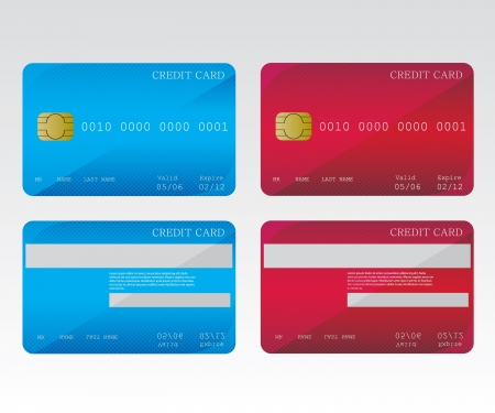 trade credit: Credit cards blue and red Illustration