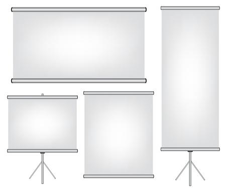 Ekran do projektora i roll up banner ilustracji