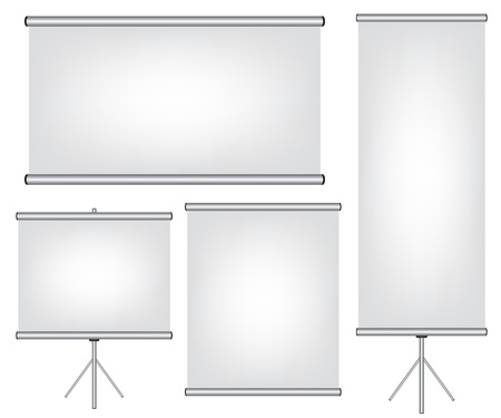 Projector screen and roll up banner illustration Vector