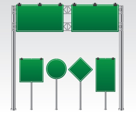 Road sign green illustration Ilustracja