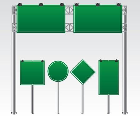 Road sign green illustration Illustration