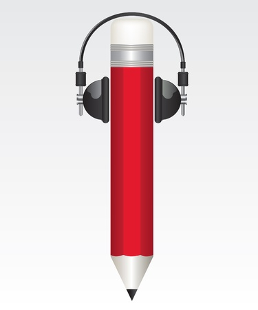 Pencil red  and headphones  illustrations