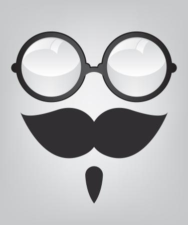 Śmieszne maska wąsy i okulary retro Ilustracja
