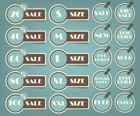 Set of sale labels retro illustration Stock Vector - 15093467