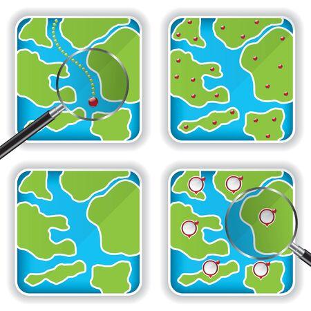 Map icons and magnifying glass illustration Stock Vector - 15381189