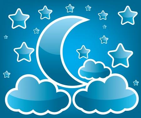 luna caricatura: Luna y estrella ilustración Vectores
