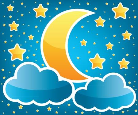 luna caricatura: Luna y estrellas ilustraci�n Vectores