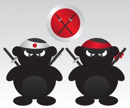 Ninja warr cartoon illustration Stock Vector - 15931435